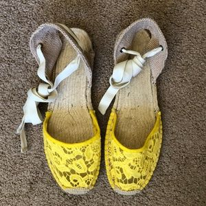 Soludos Tulip Lace Yellow Espadrilles